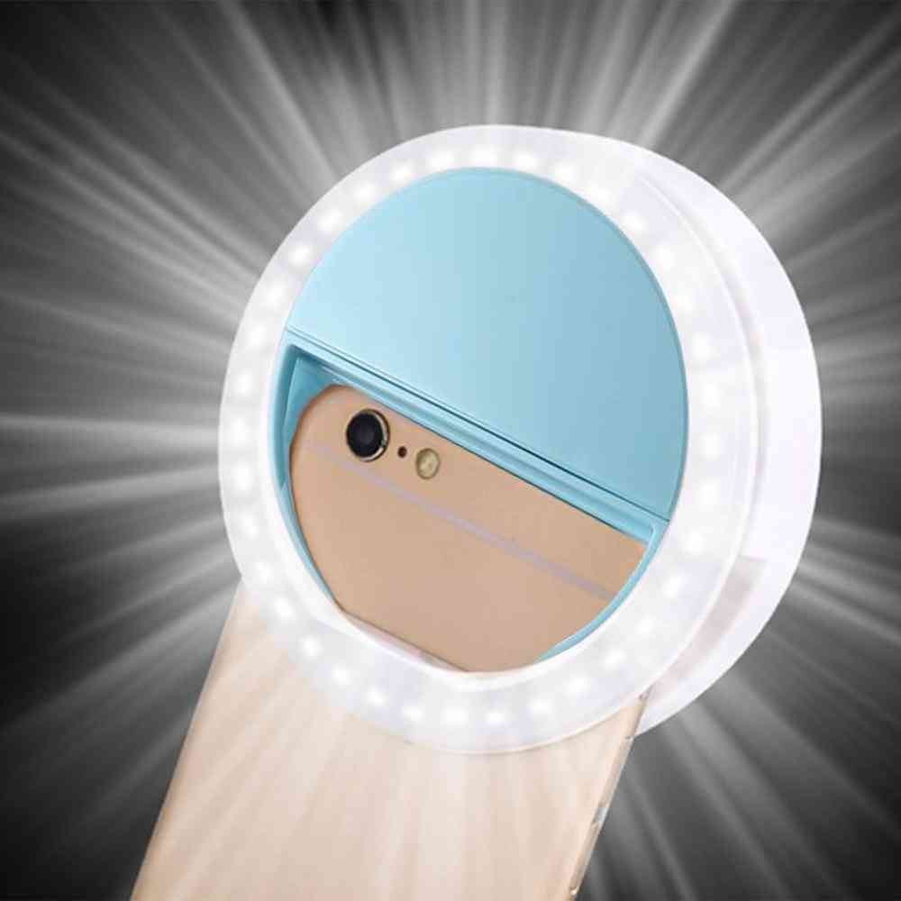 Led Auto Flash, Selfie Light With Mobile Phone Clip Selfie- Round And Portable