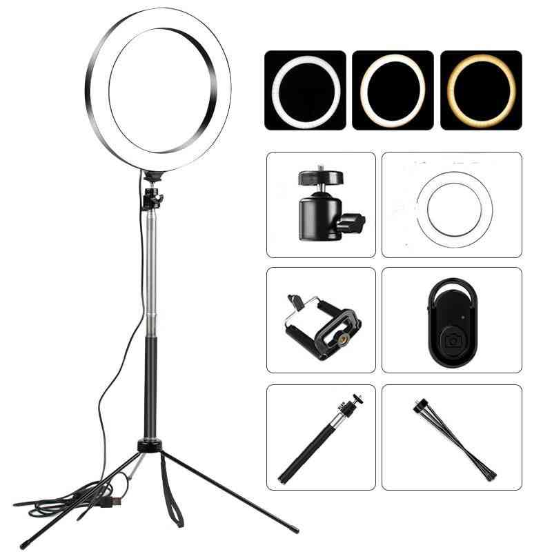 Dimmable Led Light, Usb Selfie Ring With Phone Holder Tripod For Photography