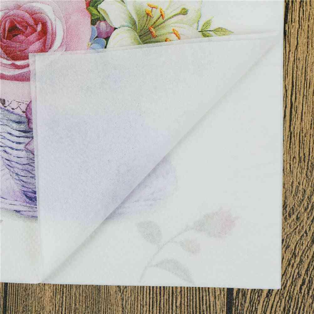 Floral Flower Theme Paper Napkins - For Decoration, Festive, Party