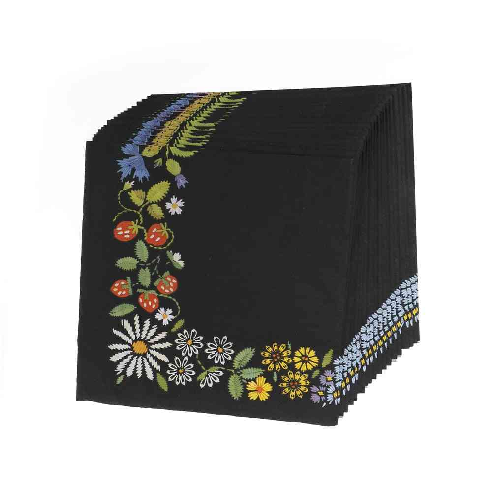 Paper Wedding Napkins Tissue Black Color Print Embroidery, Art Handerchief Decoupage