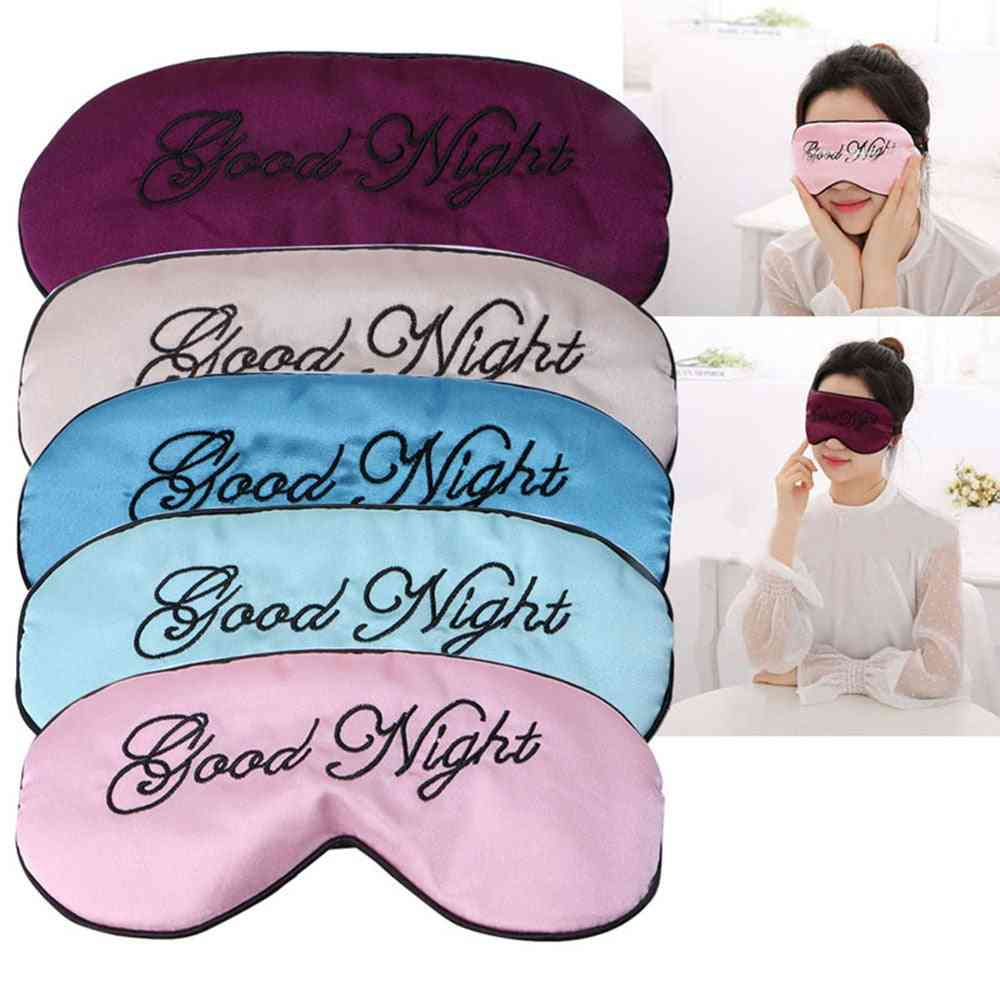 Silk Fabric, Cute Embroidered Sleep Eye Mask - Padded Shade Cover