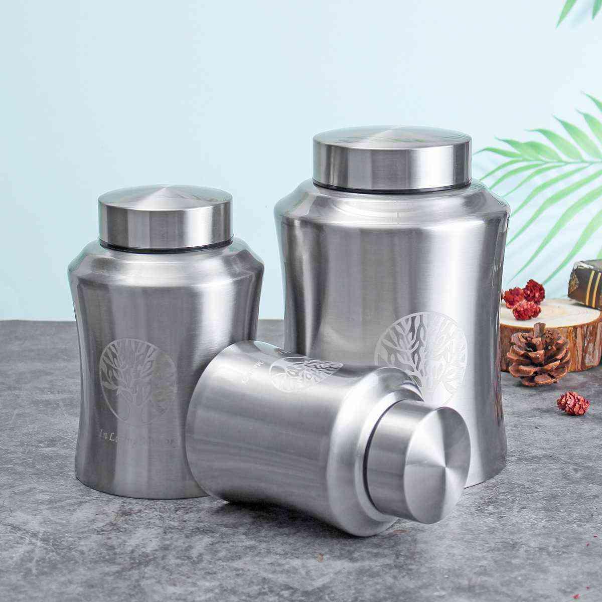Pet Memorial Cremation Mini Urns - Funeral Stainless Steel Cremation Jar Storage Tank