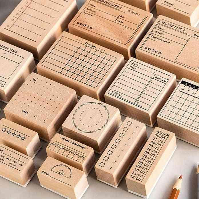 Vintage Record Memo List Time Planner Stamp - Diy Wooden Rubber Stamps For Scrapbooking