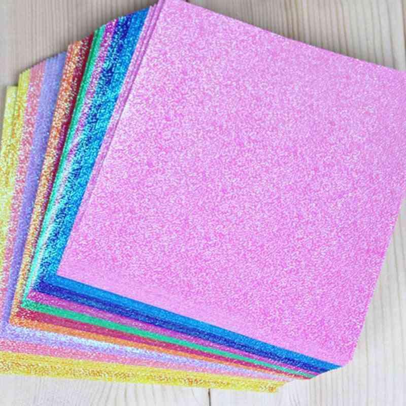 Solid Color Square Origami Single Side Shining Folding Papers