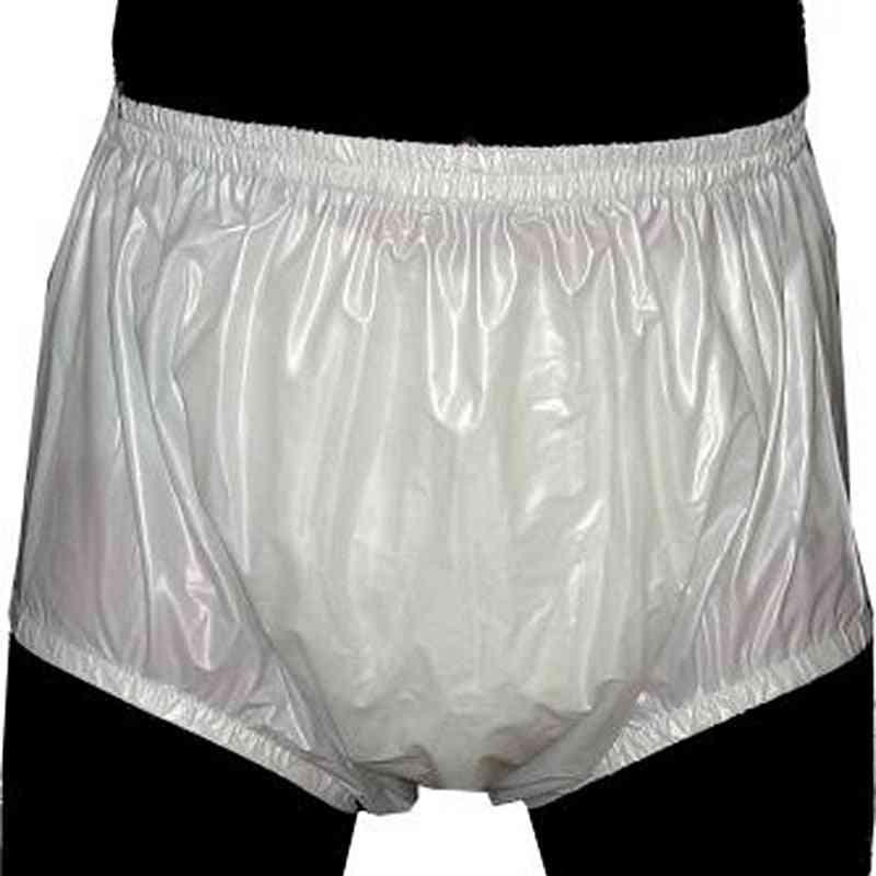 White S - 2pcs Pull On Plastic Pants ,underwear Men , Boxers Pvc Shorts For Mens