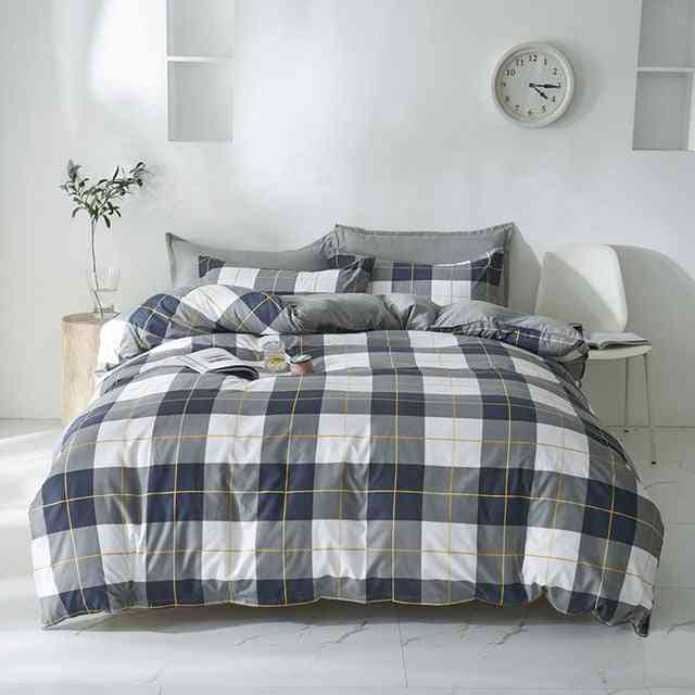 Nordic Simple Floral Plaid Bed Duvet Cover Set