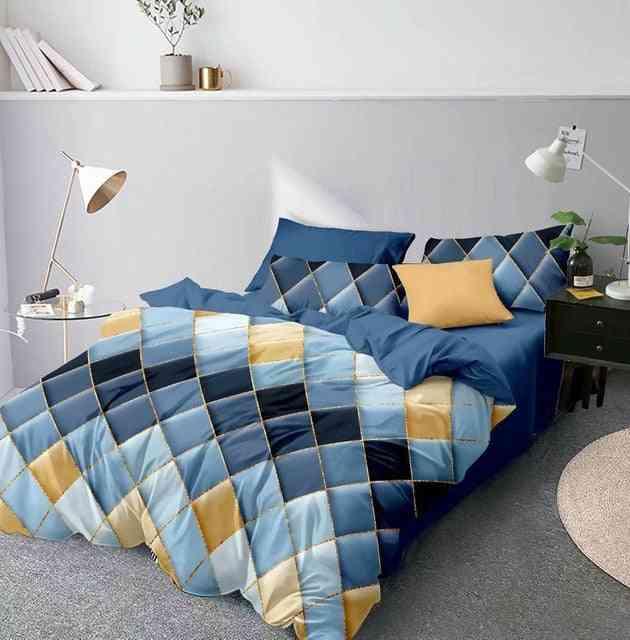 Modern 3d Geometric Printed Duvet Cover Set With Pillowcase
