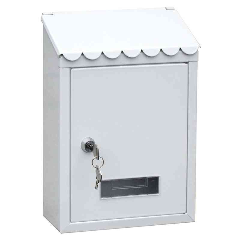 Outdoor Lockable Metal Wall Mounted Mail Box With Key