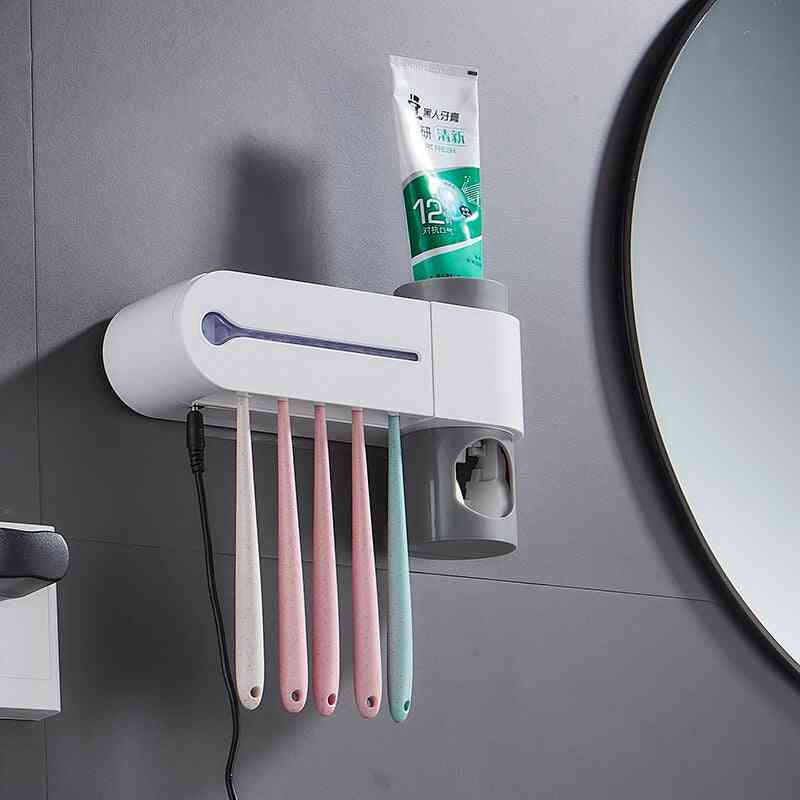 Antibacteria Ultraviolet Toothbrush Holder - Sterilizer Automatic Toothpaste Dispenser Squeezer