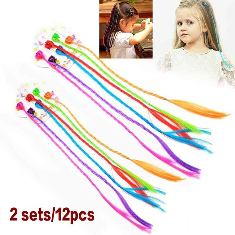 Kids Colorful Nylon Braided Hair Clip On Hair Extensions
