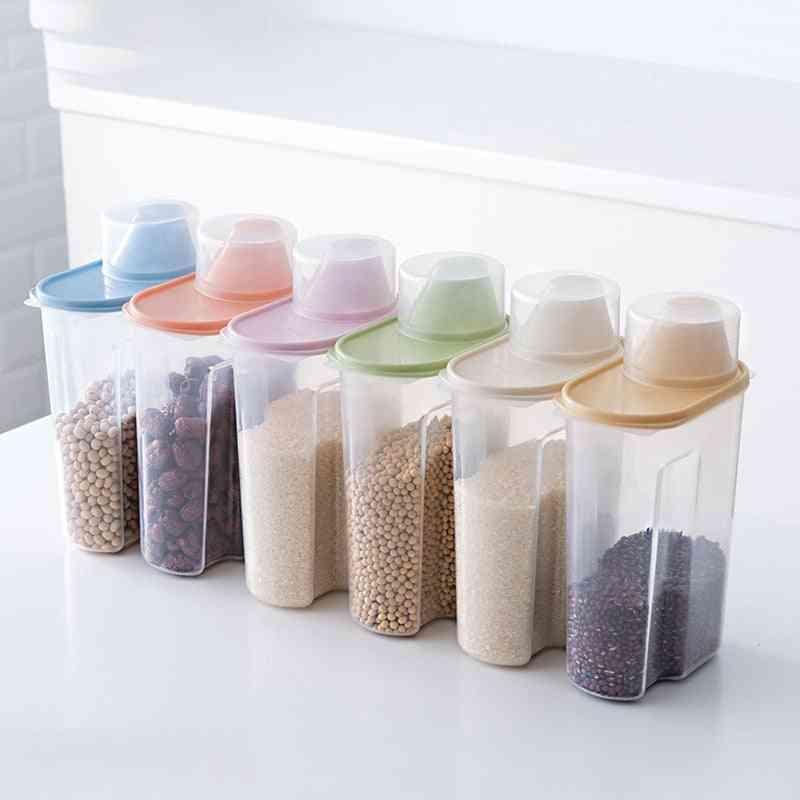 Pp Plastic Clear Container Set With Pour Lids - Kitchen Storage Bottles Jars, Dried Grains Tank