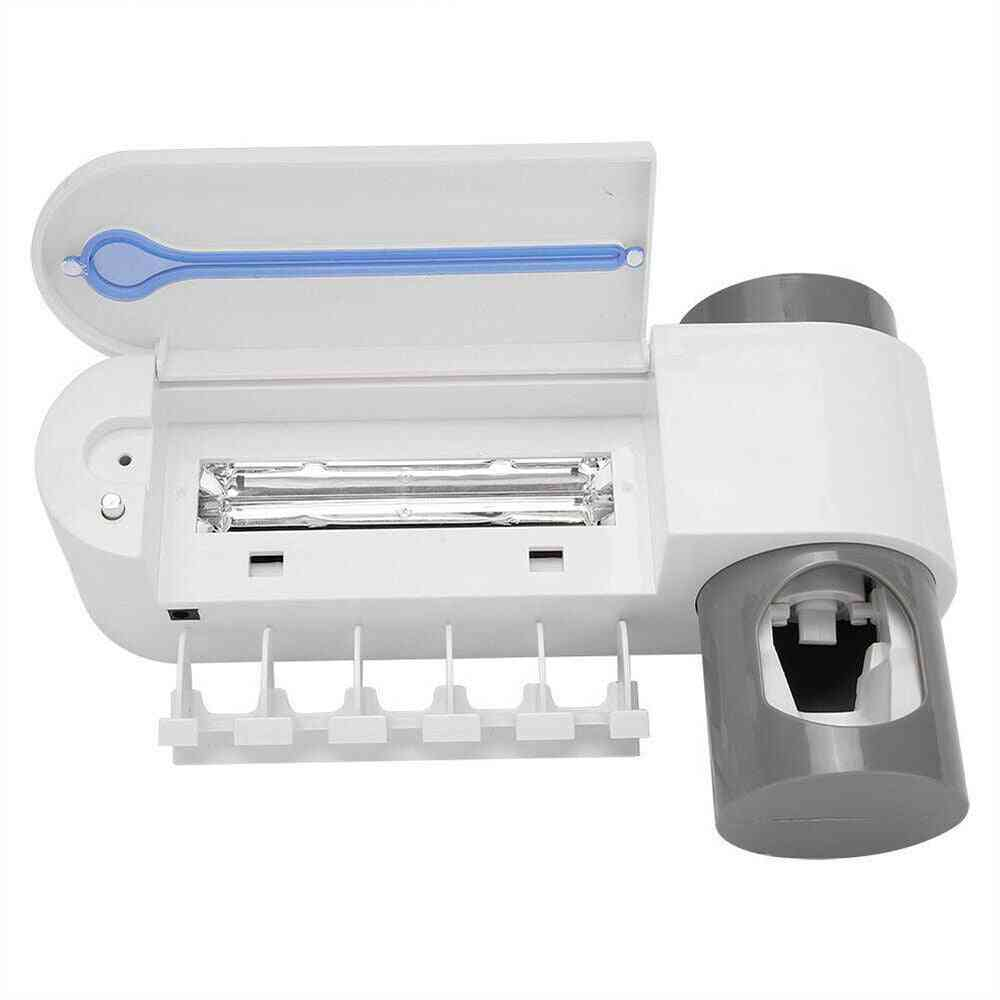 Ultraviolet Toothbrush Sterilizer, Holder And Automatic Squeezers Dispenser