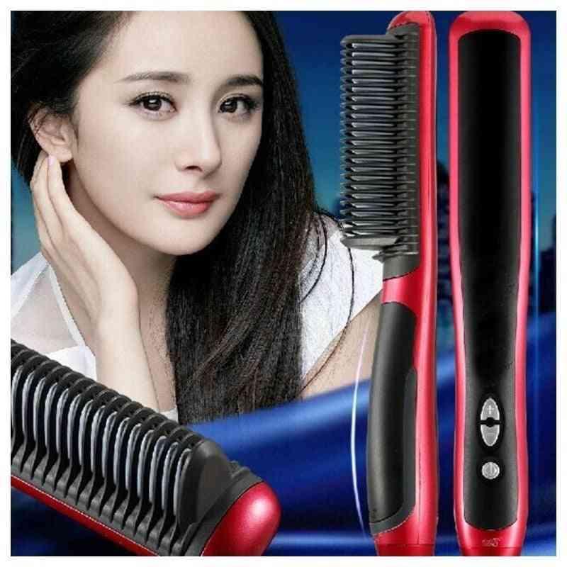 Pro Lcd Electric Beard Ionic Comb Fast Heating Hair Straightener, Anti Static Ceramic Straightening Brush