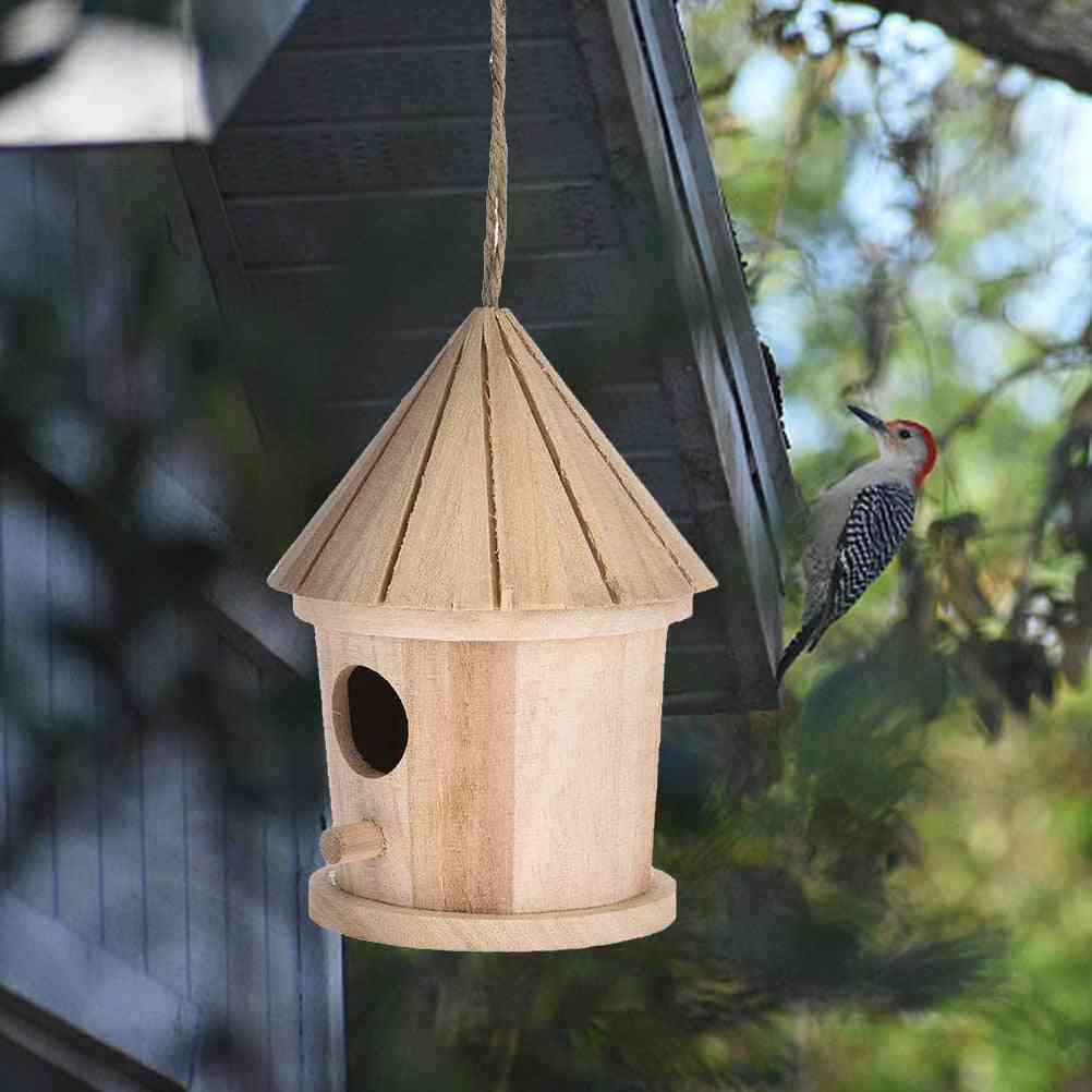 Wooden Hanging Bird House/cage - Wooden Wall Mounted Outdoor Resting Place Birdhouse