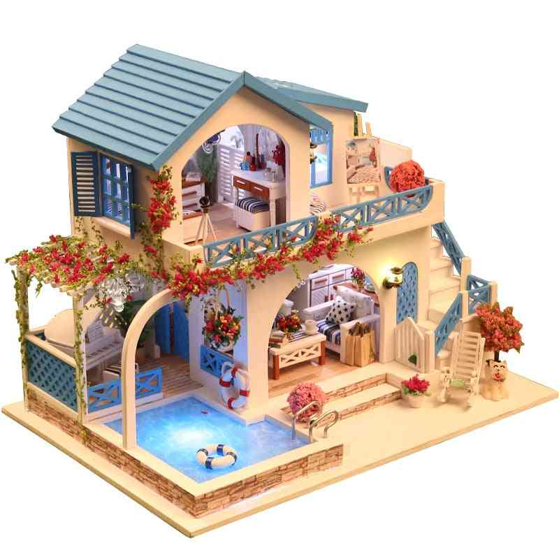 Miniature Wooden Dollhouse With Furniture, Construction Model And Building Kits Toy