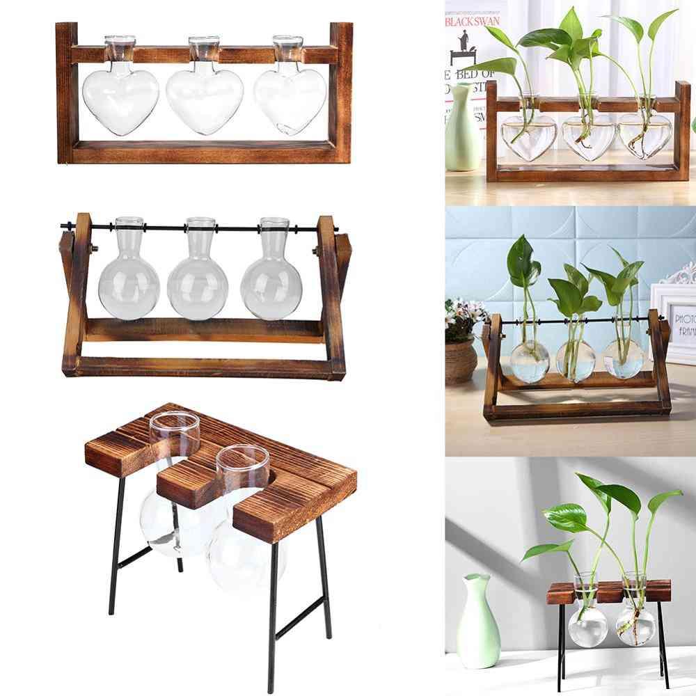 Glass And Wood Vase Planter, Terrarium Table Desktop Hydroponics, Bonsai Flower Pot Hanging Pots With Wooden Tray