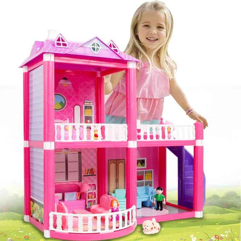Pink Assemble Princess Villa Handmade , Construction Doll House - Miniature Furniture Dollhouse For