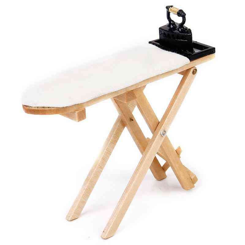 Mini Craft White Wood , Ironing Board Scene Accessories - Dollhouse Miniature Furniture Toy