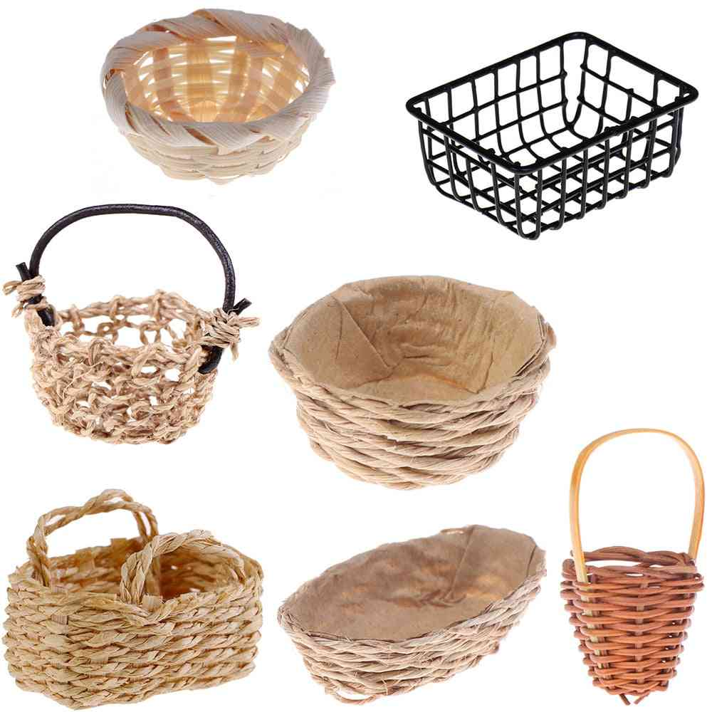 Mini Rattan And Iron Frame, Hand Woven-food Storage Basket For Doll House