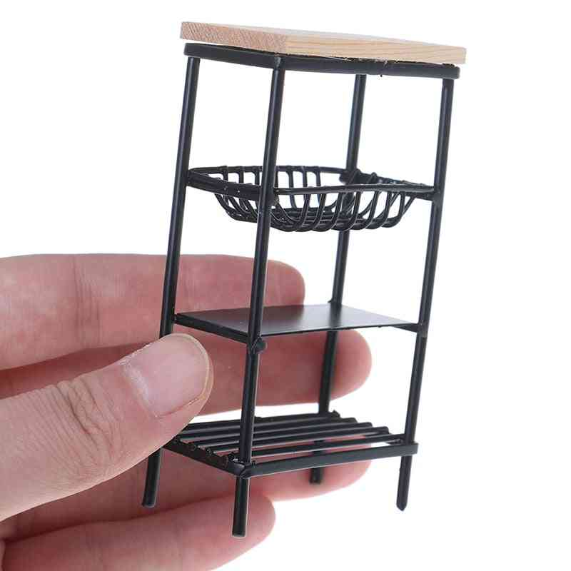 1:12 Doll House Accessories Mini Black Kitchen Side Cabinet Miniature Display Shelf Accessories Kitchen Dining Cabinet Kids|doll Houses