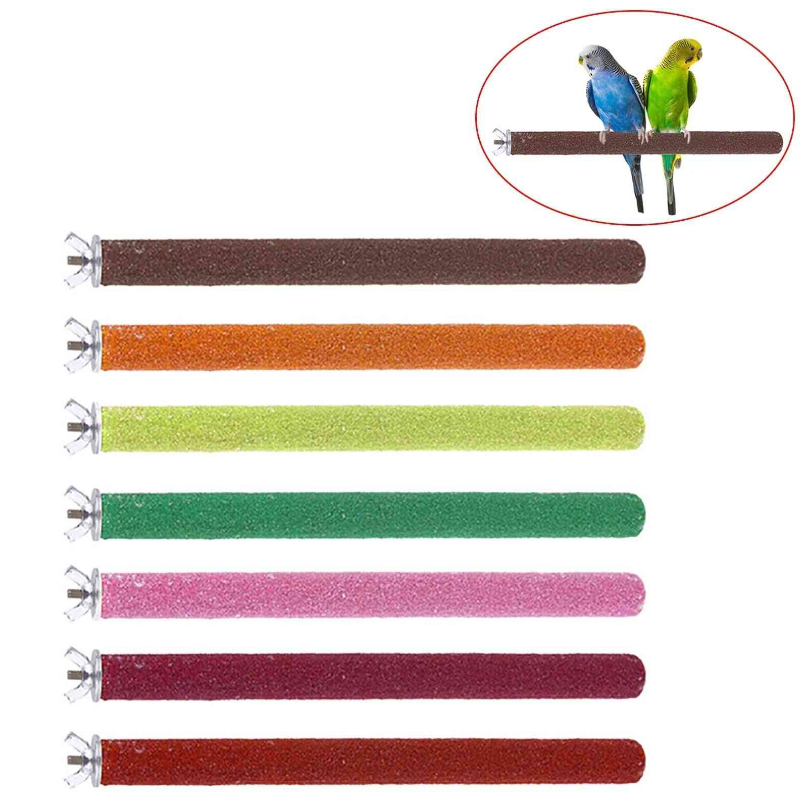 Bird Parrot Perch Stand Holder - Grinding Claw Pet Cage Platform Accessories Chew Toy Bird Supplies