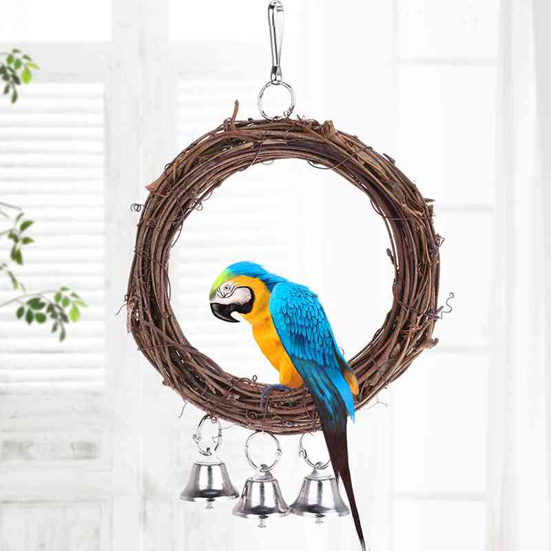 Wooden Stand Playing Rack, Swing Wood Ring For Parrot Bird Hanging With Bell