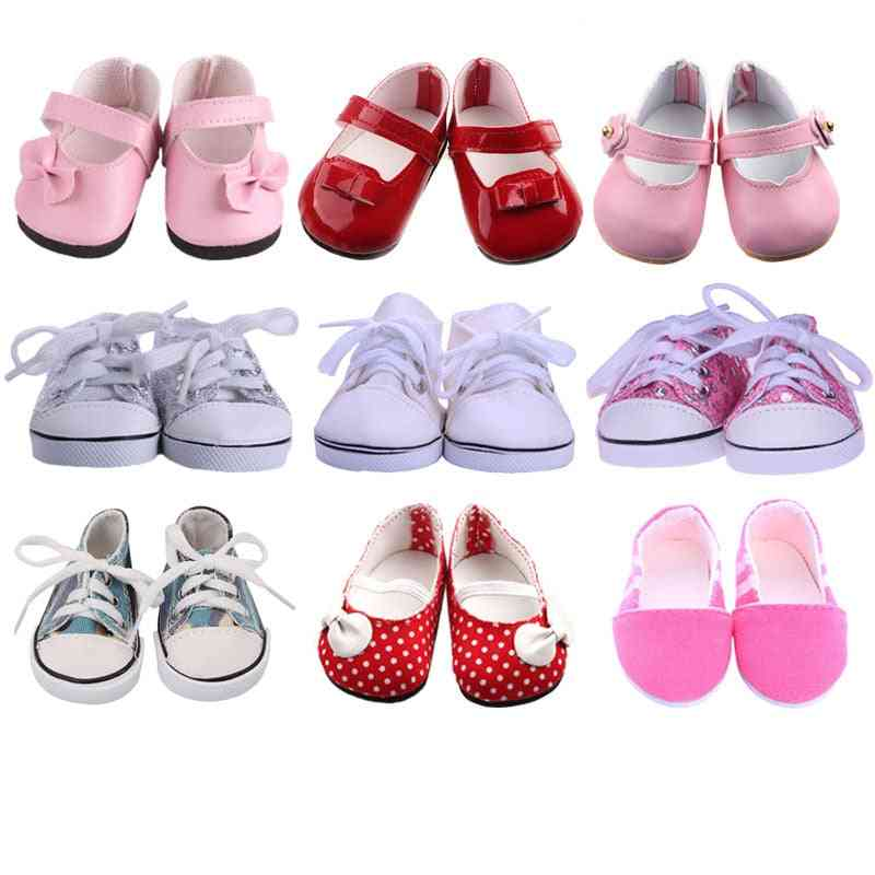 White Tube Canvas Shoes For 18 Inch American & 43 Cm Baby Born Doll