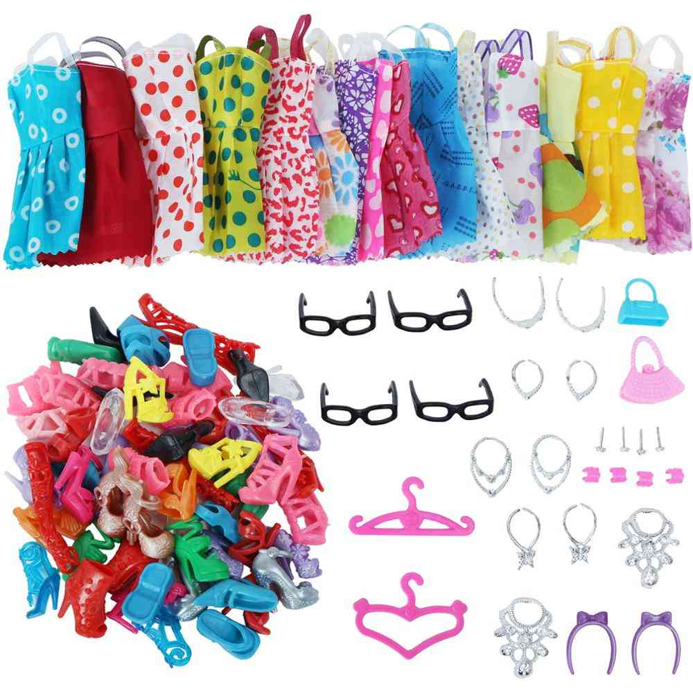 42 Item/set Shoes + 8 Necklace, 4 Glasses, 2 Crowns, 2 Handbags + 8 Pcs Doll Dress Clothes For Barbie Doll
