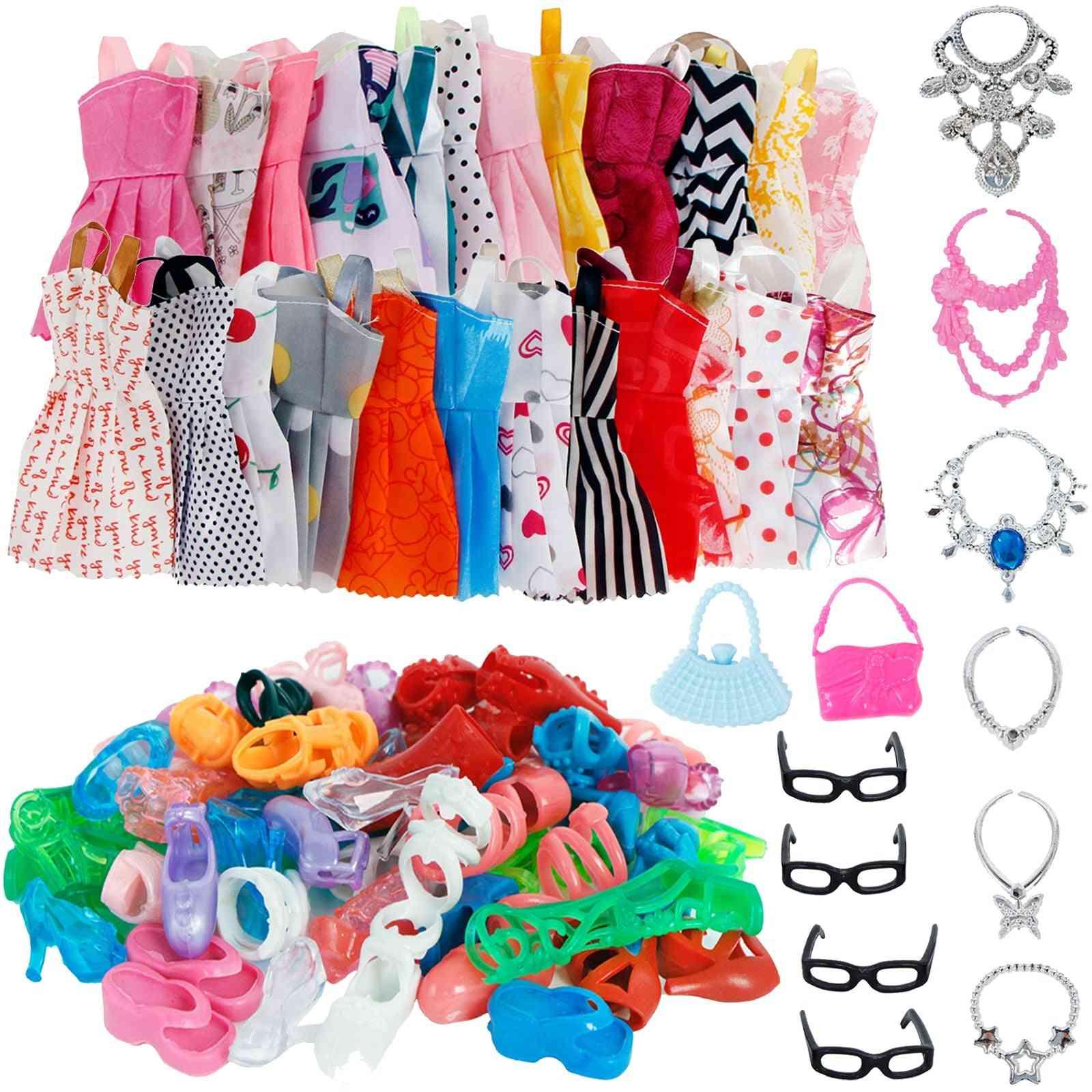 32 Item/set Doll Mix Fashion Cute Dress+ 4 Glasses+ 6 Necklaces+2 Handbag+ 10 Shoes Dress Clothes For Barbie Doll