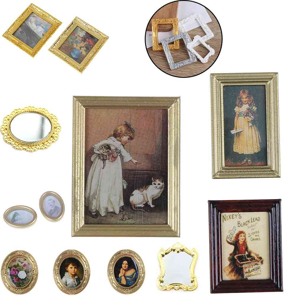 Vintage 1:12 Scale Photos Painting Mural Wall Picture For Dollhouse Miniature