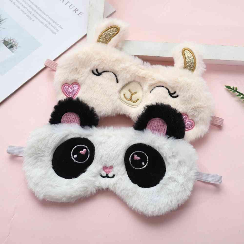 Soft Plush Eye Masks - Cute Love Panda, Rabbit Blindfold Cover For Sleeping