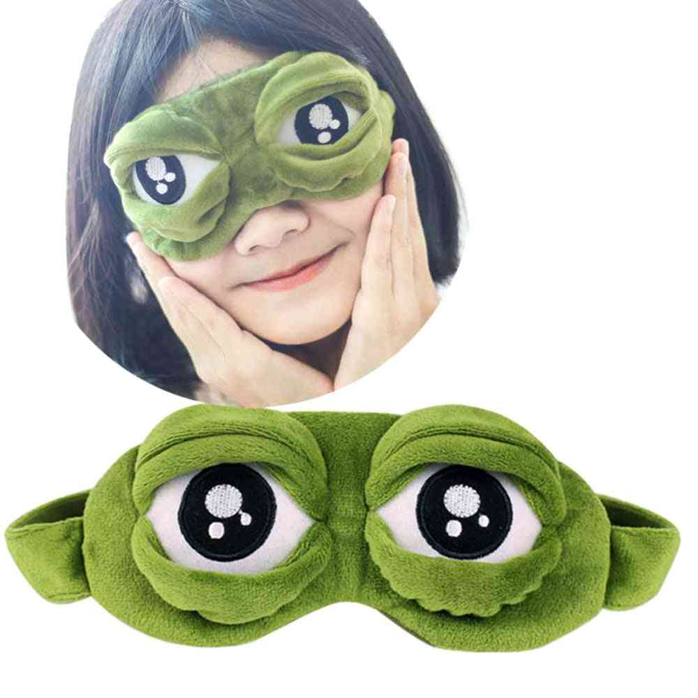 3d Sad Frog Sleep Mask For Rest - Blindfold Eye Cover Patch For Sleeping
