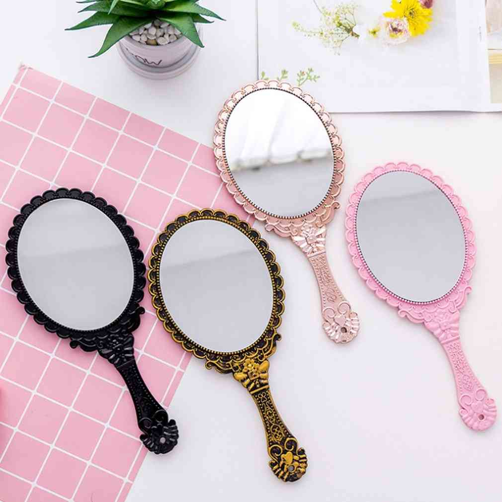 Handhold Makeup Mirror - Floral Oval Round ,cosmetic ,hand Held Mirror With Handle For Ladies Beauty Tool