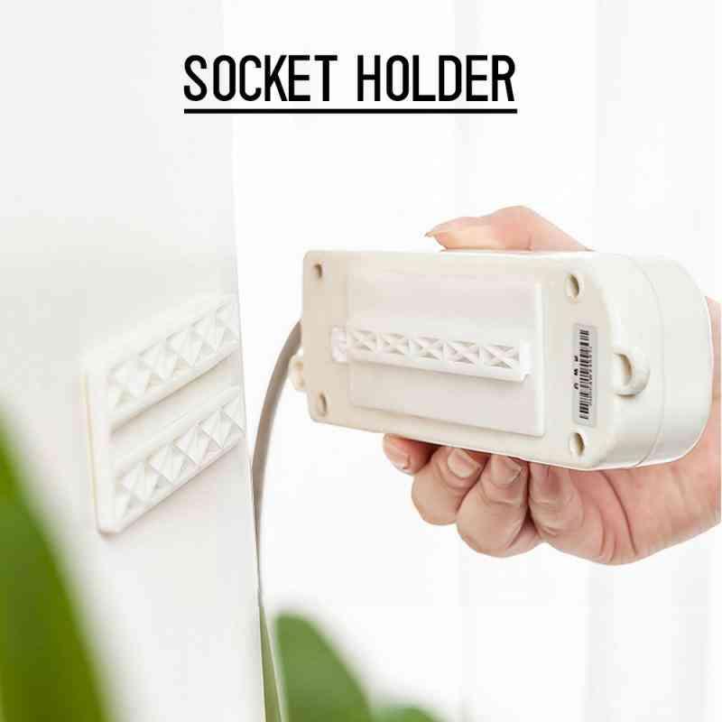 Seamless Punch Free Socket Plug Wall Sticker Holder - Power Strip Fixer Holder