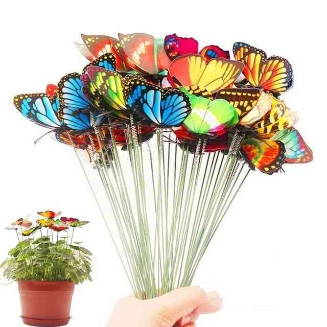 Bunch Of Butterflies Garden Yard Planter - Colorful Whimsical Stakes Flower Pot