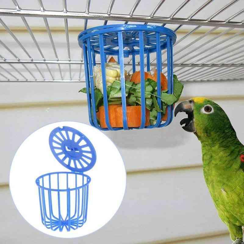 Cute Bird Parrot Feeder Cage, Fruit Vegetable Holder Hanging Basket