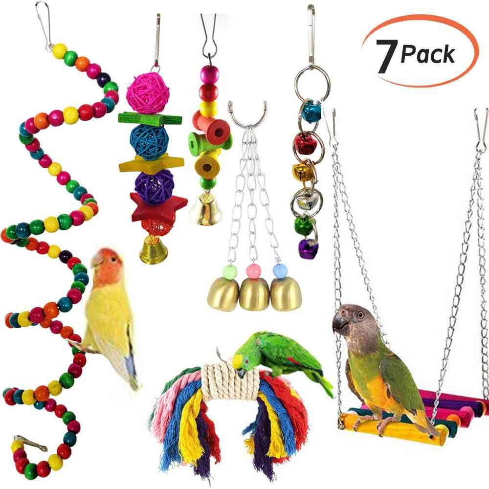 Pet Parrot Hanging Toy, Chewing Bite Rattan Balls, Grass Swing Bell Cage Accessories