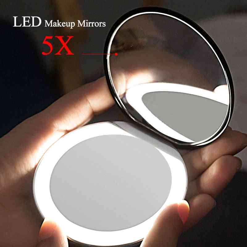 Folding Makeup Mirror With Led Light Cosmetic Mirror For Beauty Ring Light Mirror