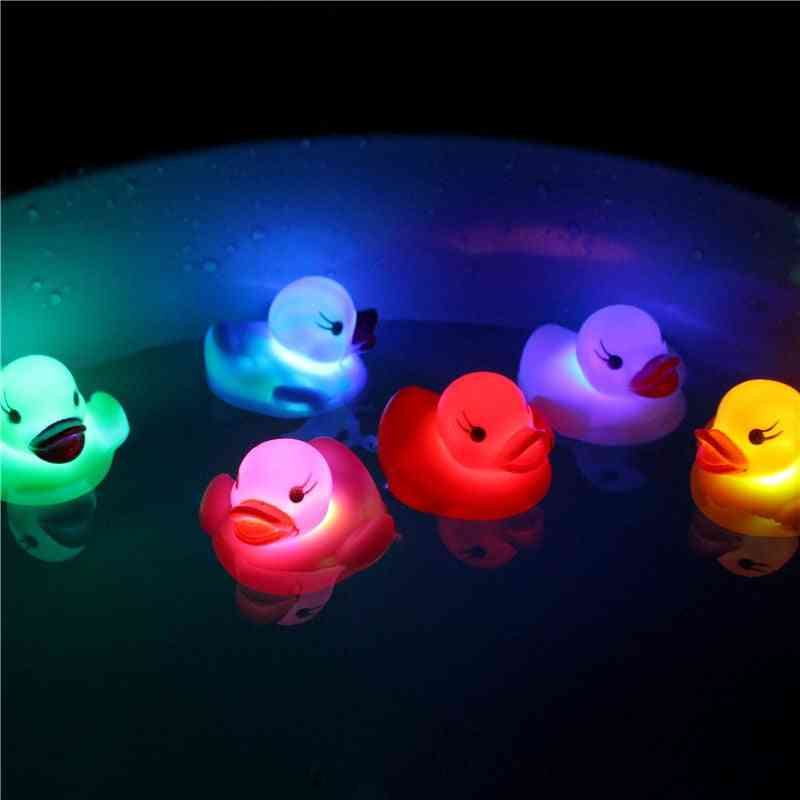 New Cute Rubber Duck For Baby Shower - Multi Color Flashing Light Duck Toy For Kids Bathroom