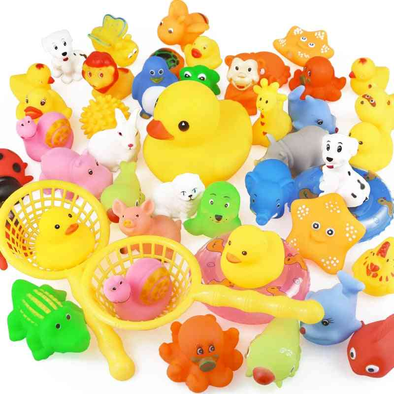 Animals Swimming Water For Kids - Mini, Colorful, Soft Floating Duck With Squeeze Sound