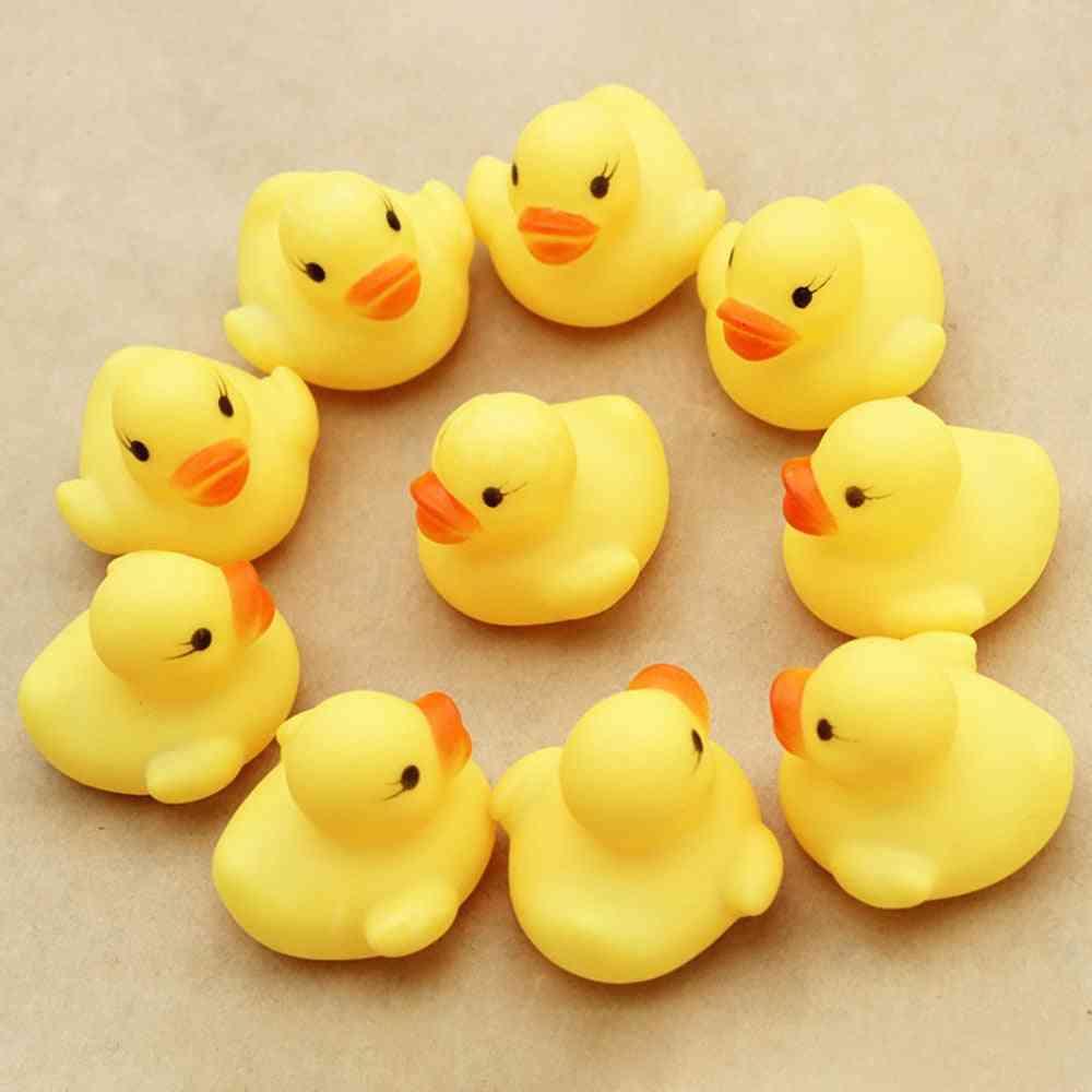 10pcs Mini Baby Kids Squeaky Rubber Ducks Bath -bathe Room Water Fun Game Playing For Newborn,,