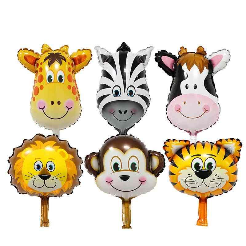 Aluminum Film Cartoon Balloon Mini Animal Head, Lion, Cow, Giraffe, Tiger, Monkey