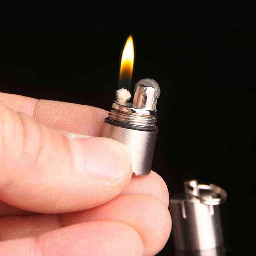 Mini Compact Kerosene Capsule Gasoline Lighter, Inflated Key Chain Grinding Petrol Wheel Lighter