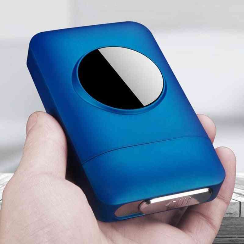 Usb Recharge Lighter And Cigarette Box Case, Creative Graphic Led Display Windproof Flameless