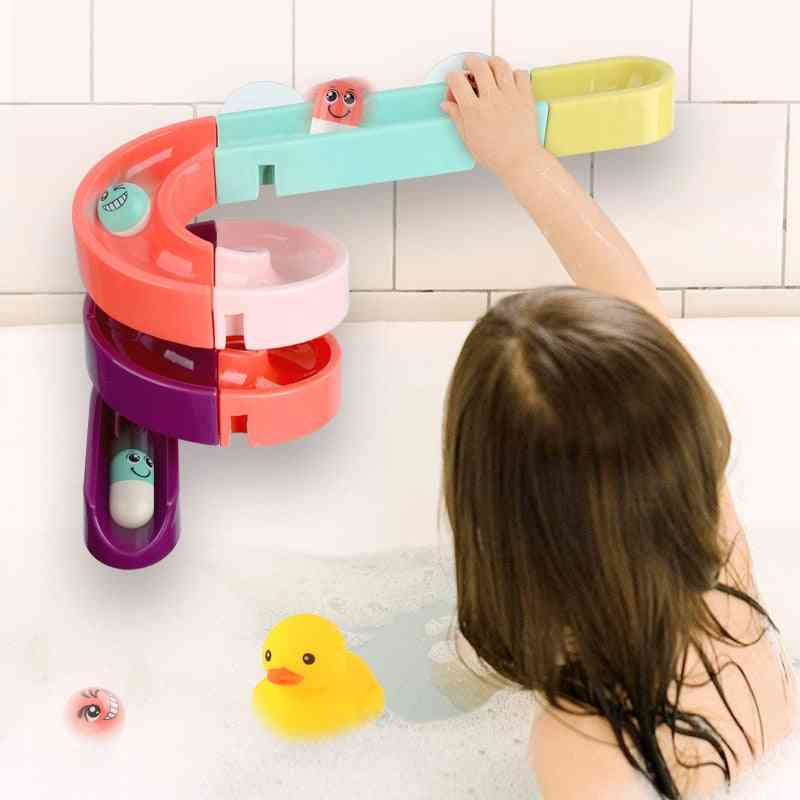 Diy Wall Suction Marble Race Run Track Cup, Bathtub For Kids Water Play Games