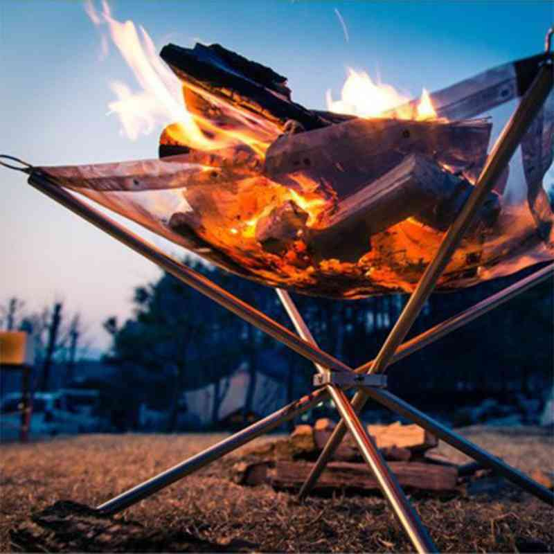 Outdoor Portable Fire Rack, Folding Table Grill Stainless Steel Point Charcoal Stove, Super Light Grid Heating