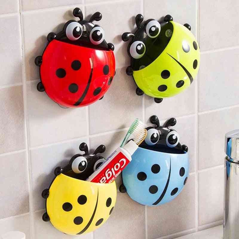 Cute Cartoon Ladybug Insect Toothbrush Toothpaste Holder For Bathroom