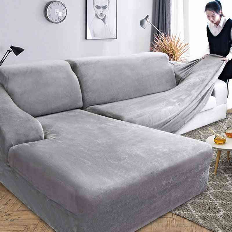 Velvet Plush L Shaped Sofa Cover For Living Room Elastic Furniture, Couch Slipcover Chaise Longue Corner Sofa Cover Stretch