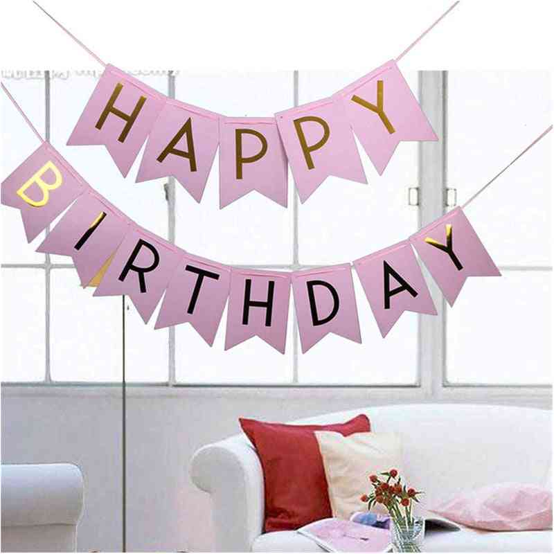 1pc Kid's Party Happy Birthday - Gold Letter Banner