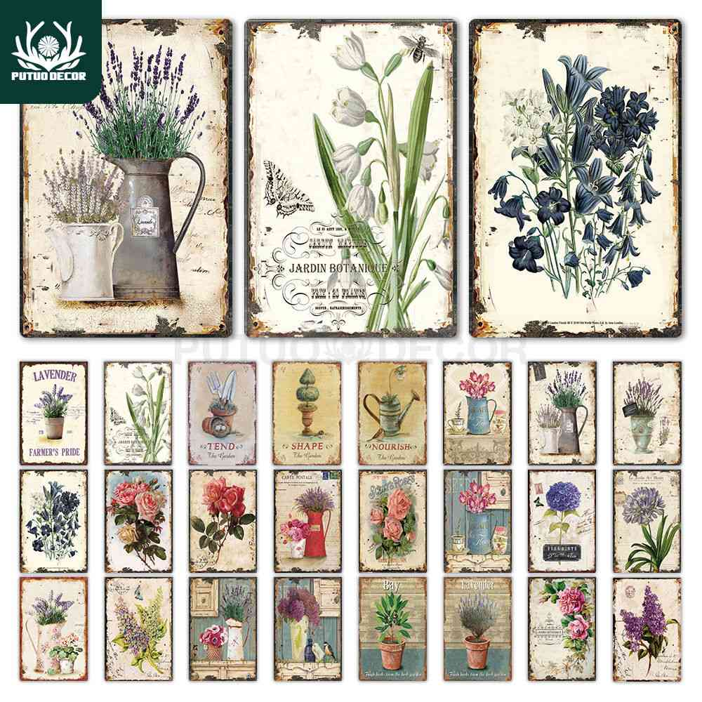 Flower Vintage Tin Sign Home Decor Retro Metal Sign Shabby Chic Wall Decor For Kitchen, Living Room, Dining Room Metal Plate